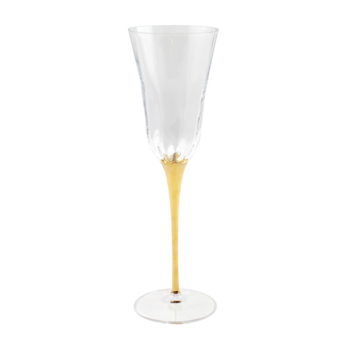"Vietri Optical Gold Stem Champagne Glass  OGS-8850 9.75""H, 7oz  Adorn your table with VIETRI's classic Optical drinkware accented with a gold stem from plumpuddingkitchen.com.  The elegant lines and delicate gilded rim add effortless embellishment to any table.   Handcrafted in Naples. Handwash."