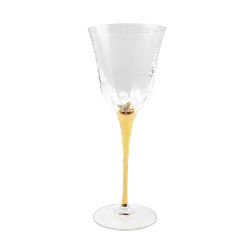 "Vietri Optical Gold Stem Wine Glass  OGS-8820 9""H, 9oz   Adorn your table with VIETRI's classic Optical drinkware accented with a gold stem from plumpuddingkitchen.com.  The elegant lines and delicate gilded rim add effortless embellishment to any table.   Handcrafted in Naples. Handwash."