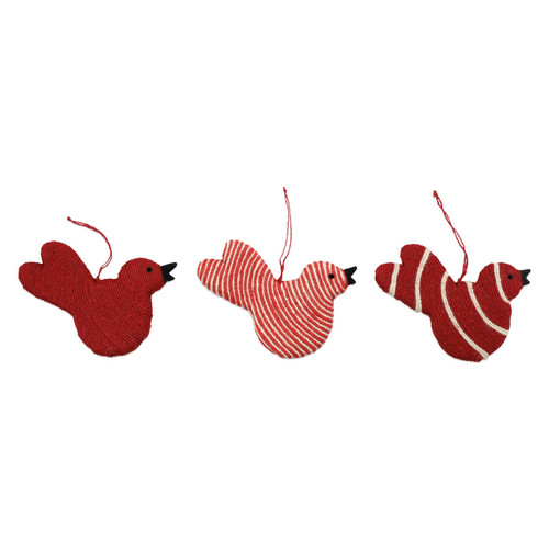 """Vietri Jute Red Bird Christmas Ornaments Set/3  ORN-00903 4-5""""L, 5-6""""H Decorate the tree with Italian flair this holiday season with one of Vietri's largest selections of ornaments ever offered.  Glass ornaments are handcrafted in Italy, the ornaments bring the perfect Italian flare to your holiday decorations.   Jute ornaments are 100% biodegradable and come in a set of three in a recyclable gift box."""