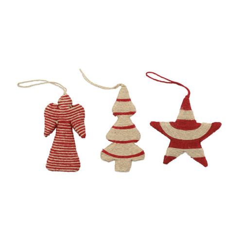 """Vietri Jute Angel, Star and Tree Christmas Ornaments Set/3  ORN-00904 4-5""""L, 5-6""""H  Decorate the tree with Italian flair this holiday season with one of Vietri's largest selections of ornaments ever offered.  Glass ornaments are handcrafted in Italy, the ornaments bring the perfect Italian flare to your holiday decorations.   Jute ornaments are 100% biodegradable and come in a set of three in a recyclable gift box."""