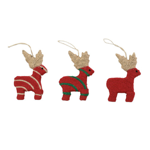 """Vietri Jute Reindeer Ornaments Set/3  ORN-00901 4-5""""L, 6""""H  Decorate the tree with Italian flair this holiday season with one of Vietri's largest selections of ornaments ever offered.  Glass ornaments are handcrafted in Italy, the ornaments bring the perfect Italian flare to your holiday decorations.   Jute ornaments are 100% biodegradable and come in a set of three in a recyclable gift box."""