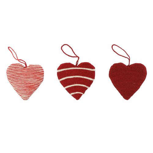 """Vietri Jute Heart Ornaments Set/3  ORN-00902 2""""D  Decorate the tree with Italian flair this holiday season with one of Vietri's largest selections of ornaments ever offered.  Glass ornaments are handcrafted in Italy, the ornaments bring the perfect Italian flare to your holiday decorations.   Jute ornaments are 100% biodegradable and come in a set of three in a recyclable gift box."""