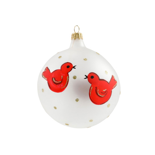 """Vietri Red Birds Ornament  ORN-27018 4""""D  Decorate the tree with Italian flair this holiday season with one of Vietri's largest selections of ornaments ever offered.  Glass ornaments are handcrafted in Italy, the ornaments bring the perfect Italian flare to your holiday decorations."""