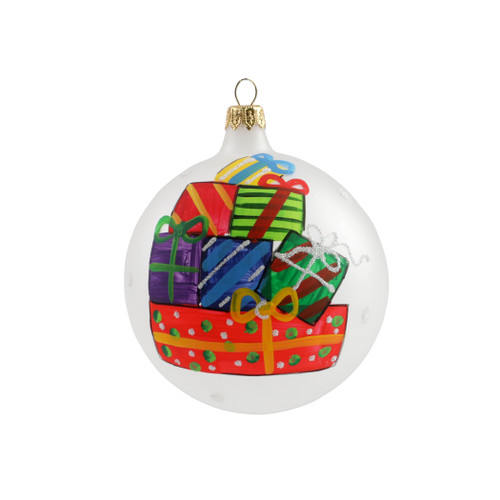"""Vietri Stacked Gifts Ornament  ORN-27019 4""""D  Decorate the tree with Italian flair this holiday season with one of Vietri's largest selections of ornaments ever offered.  Glass ornaments are handcrafted in Italy, the ornaments bring the perfect Italian flare to your holiday decorations."""