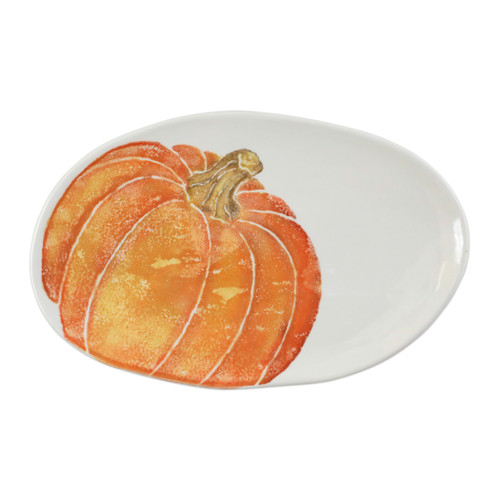 "Vietri Pumpkins Small Oval Platter with Pumpkin  PKN-9724 1.75""L, 8.5W  Inspired by a walk through the lively street markets in Florence, Pumpkins from plumpuddingkitchen.com is a playful yet sophisticated take on the fall harvest.   Handpainted on terra bianca in Veneto.   Dishwasher and microwave safe."