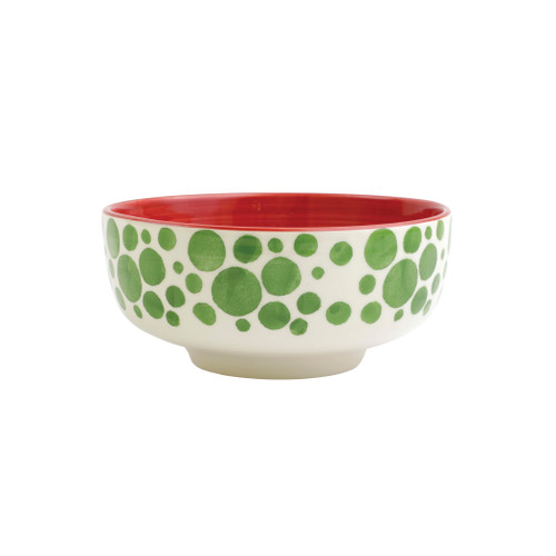 "Vietri Viva Mistletoe Bubble Medium Footed Serving Bowl  VMIL-003033 8""D, 4.25""H  Festive and playful, Mistletoe is intended for the everyday entertainer, especially during the hustle and bustle of the holiday season.  Whether you are the hostess with the mostess, the go-to gifter, or the must-have attendee, this festive collection is perfect for all things holiday.  Handpainted on hard ceramic in Portugal. Dishwasher and microwave safe."