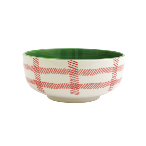 """Vietri Viva Mistletoe Plaid Large Footed Serving Bowl  VMIL-003032 10""""D, 4.25""""H  Festive and playful, Mistletoe is intended for the everyday entertainer, especially during the hustle and bustle of the holiday season.  Whether you are the hostess with the mostess, the go-to gifter, or the must-have attendee, this festive collection is perfect for all things holiday.  Handpainted on hard ceramic in Portugal. Dishwasher and microwave safe."""