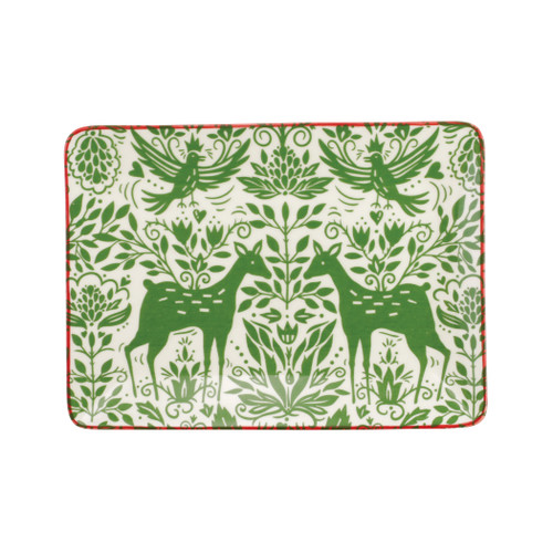 "Vietri Viva Mistletoe Small Rectangular Platter  VMIL-003027 11""L, 8""W  Festive and playful, Mistletoe is intended for the everyday entertainer, especially during the hustle and bustle of the holiday season.  Whether you are the hostess with the mostess, the go-to gifter, or the must-have attendee, this festive collection is perfect for all things holiday.  Handpainted on hard ceramic in Portugal. Dishwasher and microwave safe."