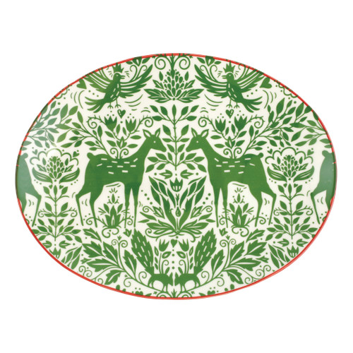 """Vietri Viva Mistletoe Oval Platter  VMIL-003024 14""""L, 10""""W  Festive and playful, Mistletoe is intended for the everyday entertainer, especially during the hustle and bustle of the holiday season.  Whether you are the hostess with the mostess, the go-to gifter, or the must-have attendee, this festive collection is perfect for all things holiday.  Handpainted on hard ceramic in Portugal. Dishwasher and microwave safe."""