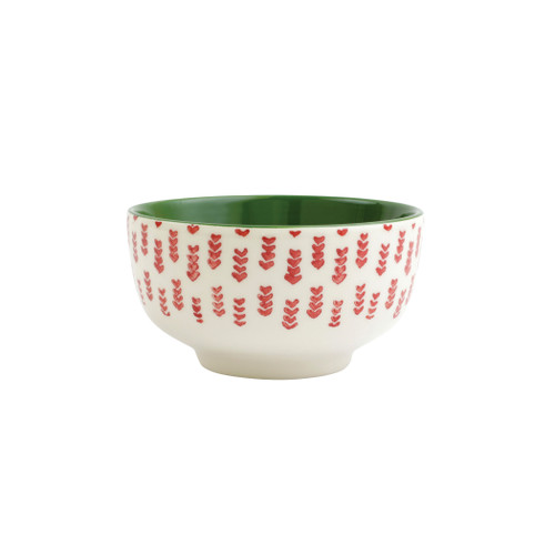 """Vietri Viva Mistletoe Arrow Small Footed Serving Bowl  VMIL-003006 6""""D, 2.75""""H  Festive and playful, Mistletoe is intended for the everyday entertainer, especially during the hustle and bustle of the holiday season.  Whether you are the hostess with the mostess, the go-to gifter, or the must-have attendee, this festive collection is perfect for all things holiday.  Handpainted on hard ceramic in Portugal. Dishwasher and microwave safe."""