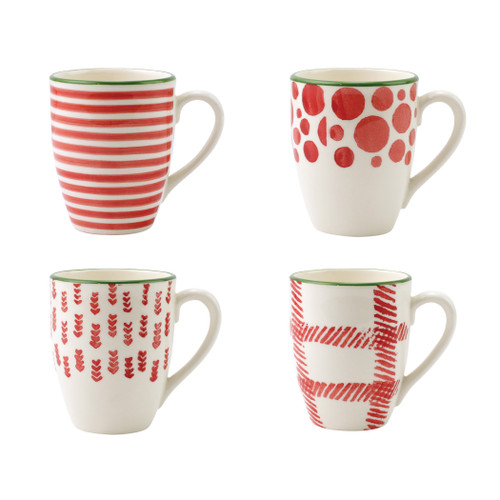 "Vietri Viva Mistletoe Assorted Mugs Set/4  VMIL-003010 4.5""H, 14oz  Festive and playful, Mistletoe is intended for the everyday entertainer, especially during the hustle and bustle of the holiday season.  Whether you are the hostess with the mostess, the go-to gifter, or the must-have attendee, this festive collection is perfect for all things holiday.  Handpainted on hard ceramic in Portugal. Dishwasher and microwave safe."