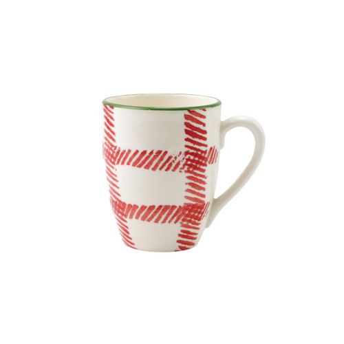 """Vietri Viva Mistletoe Plaid Mug  VMIL-003010D 4.5""""H, 14oz  Festive and playful, Mistletoe is intended for the everyday entertainer, especially during the hustle and bustle of the holiday season.  Whether you are the hostess with the mostess, the go-to gifter, or the must-have attendee, this festive collection is perfect for all things holiday.  Handpainted on hard ceramic in Portugal. Dishwasher and microwave safe."""