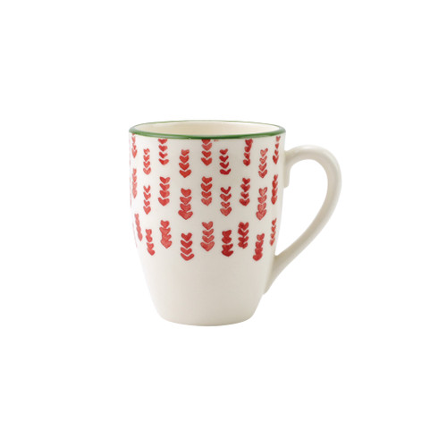 """Vietri Viva Mistletoe Arrow Mug  VMIL-003010C 4.5""""H, 14oz  Festive and playful, Mistletoe is intended for the everyday entertainer, especially during the hustle and bustle of the holiday season.  Whether you are the hostess with the mostess, the go-to gifter, or the must-have attendee, this festive collection is perfect for all things holiday.  Handpainted on hard ceramic in Portugal. Dishwasher and microwave safe."""