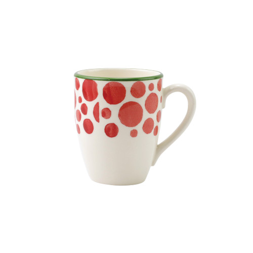 """Vietri Viva Mistletoe Bubble Mug  VMIL-003010B 4.5""""H, 14oz  Festive and playful, Mistletoe is intended for the everyday entertainer, especially during the hustle and bustle of the holiday season.  Whether you are the hostess with the mostess, the go-to gifter, or the must-have attendee, this festive collection is perfect for all things holiday.  Handpainted on hard ceramic in Portugal. Dishwasher and microwave safe."""