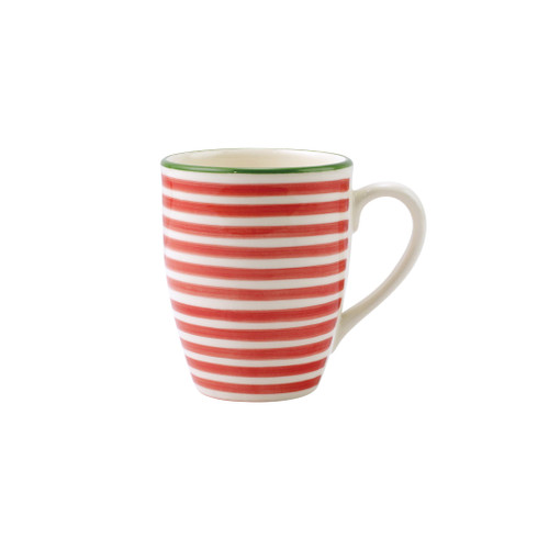 "Vietri Viva Mistletoe Stripe Mug VMIL-003010A 4.5""H, 14oz  Festive and playful, Mistletoe is intended for the everyday entertainer, especially during the hustle and bustle of the holiday season.  Whether you are the hostess with the mostess, the go-to gifter, or the must-have attendee, this festive collection is perfect for all things holiday.  Handpainted on hard ceramic in Portugal. Dishwasher and microwave safe."