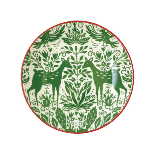 "Vietri Viva Mistletoe Pasta Bowl  VMIL-003004 9.5""D  Festive and playful, Mistletoe is intended for the everyday entertainer, especially during the hustle and bustle of the holiday season.  Whether you are the hostess with the mostess, the go-to gifter, or the must-have attendee, this festive collection is perfect for all things holiday.  Handpainted on hard ceramic in Portugal. Dishwasher and microwave safe."