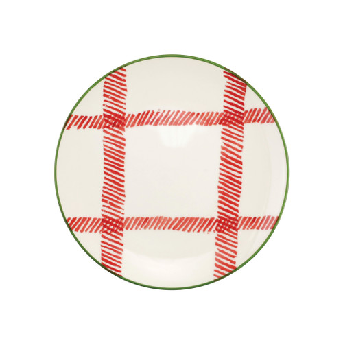 "Vietri Viva Mistletoe Plaid Salad Plate  VMIL-003001D 9""D  Festive and playful, Mistletoe is intended for the everyday entertainer, especially during the hustle and bustle of the holiday season.  Whether you are the hostess with the mostess, the go-to gifter, or the must-have attendee, this festive collection is perfect for all things holiday.  Handpainted on hard ceramic in Portugal. Dishwasher and microwave safe."