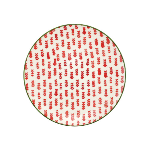 "Vietri Viva Mistletoe Arrow Salad Plate  VMIL-003001C 9""D  Festive and playful, Mistletoe is intended for the everyday entertainer, especially during the hustle and bustle of the holiday season.  Whether you are the hostess with the mostess, the go-to gifter, or the must-have attendee, this festive collection is perfect for all things holiday.  Handpainted on hard ceramic in Portugal. Dishwasher and microwave safe."