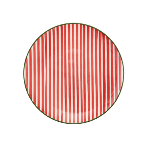 "Vietri Viva Mistletoe Stripe Salad Plate VMIL-003001A 9""D  Festive and playful, Mistletoe is intended for the everyday entertainer, especially during the hustle and bustle of the holiday season.  Whether you are the hostess with the mostess, the go-to gifter, or the must-have attendee, this festive collection is perfect for all things holiday.  Handpainted on hard ceramic in Portugal. Dishwasher and microwave safe."
