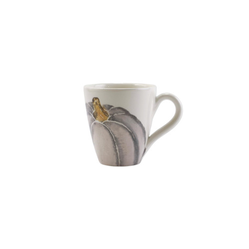 """Vietri Pumpkins Gray Medium Pumpkin Mug  PNK-9710D 4.25""""H, 14oz     Inspired by a walk through the lively street markets in Florence, Pumpkins from plumpuddingkitchen.com is a playful yet sophisticated take on the fall harvest.   Handpainted on terra bianca in Veneto.   Dishwasher and microwave safe."""