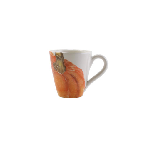"Vietri Pumpkins Orange Medium Pumpkin Mug  PNK-9710B 4.25""H, 14oz     Inspired by a walk through the lively street markets in Florence, Pumpkins from plumpuddingkitchen.com is a playful yet sophisticated take on the fall harvest.   Handpainted on terra bianca in Veneto.   Dishwasher and microwave safe."