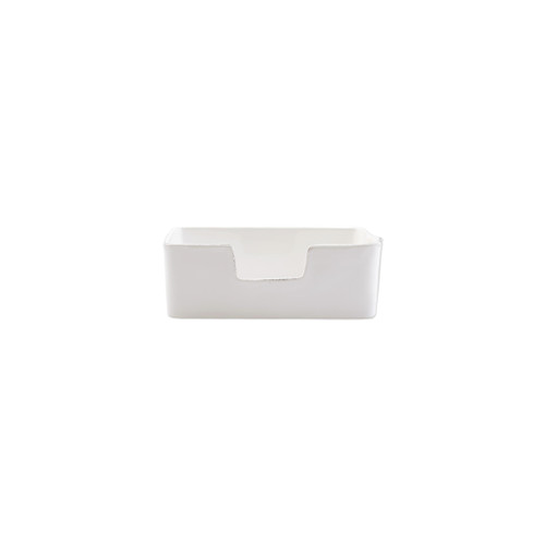 "Vietri Lastra White Guest Towel Holder  LAS-2677W 8.25""L, 5.25""W, 3.25""H  ""Rustic and chic, the Lastra White  from plumpuddingkitchen.com adds a clean, elegant, and sophisticated look to your holiday kitchen. This stoneware design is inspired by the molds used to form cheeses throughout Italy. 