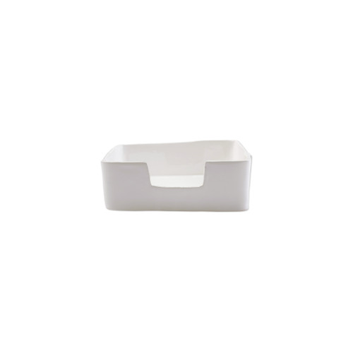 "Vietri Lastra White Dinner Napkin Holder  LAS-2676W 9.5""L, 5.25""W, 3.25""H  ""Rustic and chic, the Lastra White  from plumpuddingkitchen.com adds a clean, elegant, and sophisticated look to your holiday kitchen. This stoneware design is inspired by the molds used to form cheeses throughout Italy. 