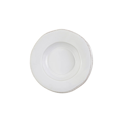 "Vietri Lastra White Rimmed Pasta Bowl  LAS-2630W 10.25""D, 2""H  ""Rustic and chic, the Lastra White  from plumpuddingkitchen.com adds a clean, elegant, and sophisticated look to your holiday kitchen. This stoneware design is inspired by the molds used to form cheeses throughout Italy. 