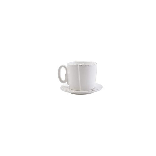 "Vietri Lastra White Cup & Saucer  LAS-26002W 3.25""H, 8oz  ""Rustic and chic, the Lastra White  from plumpuddingkitchen.com adds a clean, elegant, and sophisticated look to your holiday kitchen. This stoneware design is inspired by the molds used to form cheeses throughout Italy. 