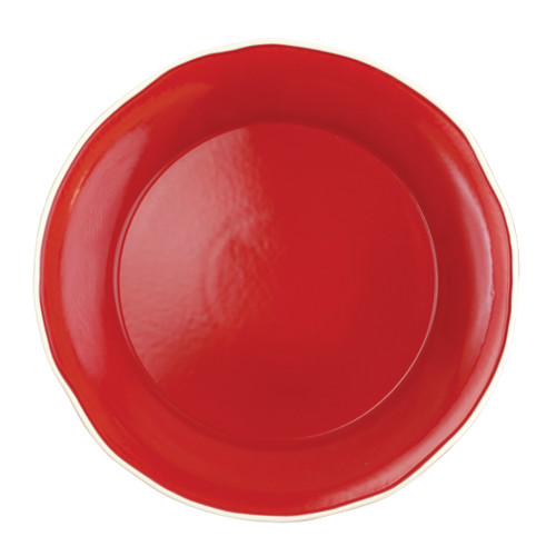 """Vietri Viva Chroma Red  Round Platter  VCRM-R003022 12.5""""D  Simple lines, clean design.  Vietri's Chroma is defined by its purity of color and smooth shapes making it the perfect backdrop for your monthly dinner parties or casual nights in with the family.  Handpainted on hard ceramic in Portugal.  Dishwasher & Microwave safe."""