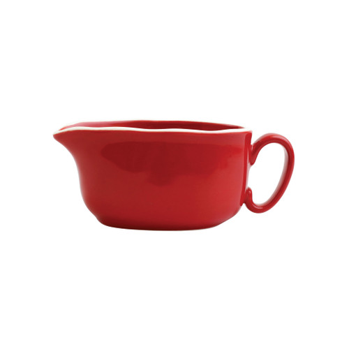 """Vietri Viva Chroma Red Gravy Boat  VCRM-R003043 7.5""""L, 3.5""""W, 3""""H  Simple lines, clean design.  Vietri's Chroma is defined by its purity of color and smooth shapes making it the perfect backdrop for your monthly dinner parties or casual nights in with the family.  Handpainted on hard ceramic in Portugal.  Dishwasher & Microwave safe."""