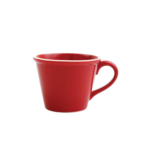 """Vietri Viva Chroma Red Mug  VCRM-R003010 4.5""""H  Simple lines, clean design.  Vietri's Chroma is defined by its purity of color and smooth shapes making it the perfect backdrop for your monthly dinner parties or casual nights in with the family.  Handpainted on hard ceramic in Portugal.  Dishwasher & Microwave safe."""
