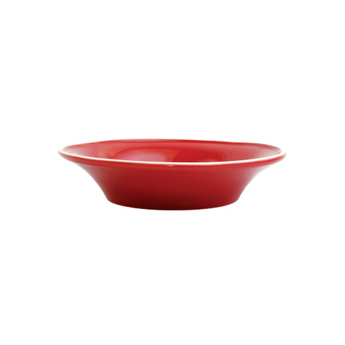 """Vietri Viva Chroma Red Pasta Bowl VCRM-R003004 9""""D, 2""""H  Simple lines, clean design.  Vietri's Chroma is defined by its purity of color and smooth shapes making it the perfect backdrop for your monthly dinner parties or casual nights in with the family.  Handpainted on hard ceramic in Portugal.  Dishwasher & Microwave safe."""