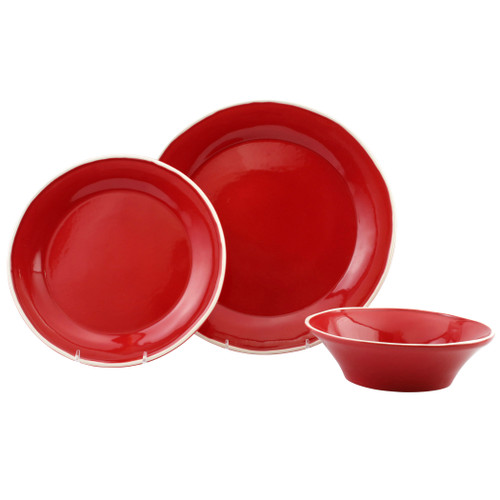 "Vietri Viva Chroma Red 3-Piece Place Setting  VCRM-R003000S 7"" - 10.5""D  Place Setting includes dinner plate, salad plate and cereal bowl.  Simple lines, clean design.  Vietri's Chroma is defined by its purity of color and smooth shapes making it the perfect backdrop for your monthly dinner parties or casual nights in with the family.  Handpainted on hard ceramic in Portugal.  Dishwasher & Microwave safe."