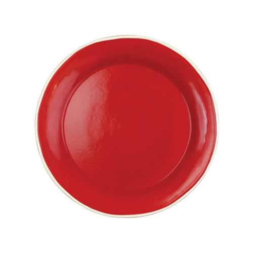 """Vietri Viva Chroma Red Dinner Plate  VCRM-R003000 10.5""""D  Simple lines, clean design.  Vietri's Chroma is defined by its purity of color and smooth shapes making it the perfect backdrop for your monthly dinner parties or casual nights in with the family.  Handpainted on hard ceramic in Portugal.  Dishwasher & Microwave safe."""