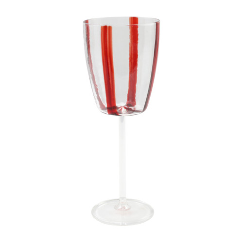 "Vietri Stripe Glass Red Wine Glass  STP-5420R 9.5""H, 11oz  Dress up your daily glass of wine with the Stripe Red Wine Glass from plumpuddingkitchen.com. Intricately mouthblown in Veneto, this beautiful collection brings a sophisticated, modern touch to your favorite barware assortment."