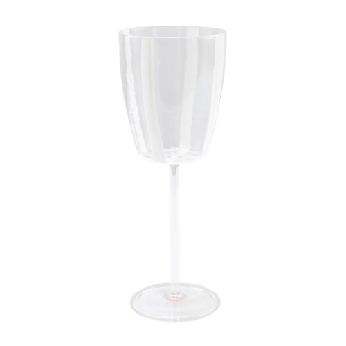 "Vietri Stripe Glass White Wine Glass  STP-5420w 9.5""H, 11oz  Dress up your daily glass of wine with the Stripe White Wine Glass from plumpuddingkitchen.com. Intricately mouthblown in Veneto, this beautiful collection brings a sophisticated, modern touch to your favorite barware assortment."