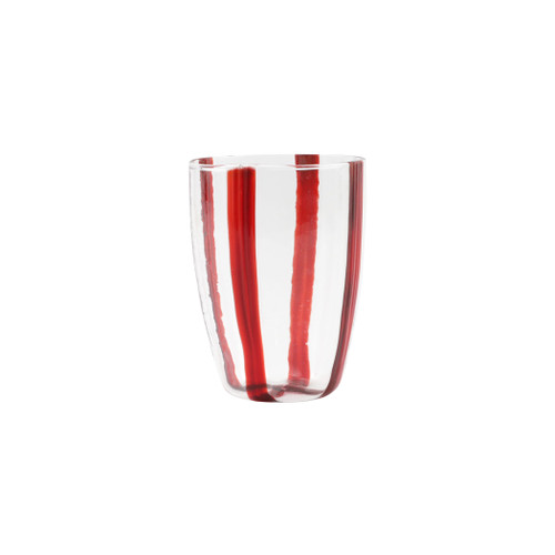 "Vietri Stripe Glass Red Tall Tumbler  STP-5438R 4.5""H, 15oz Dress up your daily ocktail with the Stripe Red tall Tumbler from plumpuddingkitchen.com. Intricately mouthblown in Veneto, this beautiful collection brings a sophisticated, modern touch to your favorite barware assortment."
