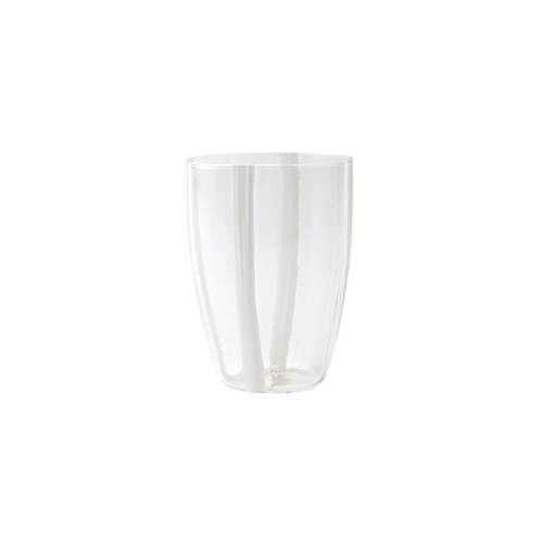 "Vietri Stripe Glass White Tall Tumbler  STP-5438W 4.5""H, 15oz  Dress up your daily ocktail with the Stripe White Tall Tumbler from plumpuddingkitchen.com. Intricately mouthblown in Veneto, this beautiful collection brings a sophisticated, modern touch to your favorite barware assortment."