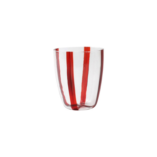 "Vietri Stripe Red Short Tumbler  STR-5437R 4""H, 12oz Dress up your daily glass of wine with the Stripe Red Short Tumbler from plumpuddingkitchen.com. Intricately mouthblown in Veneto, this beautiful collection brings a sophisticated, modern touch to your favorite barware assortment."