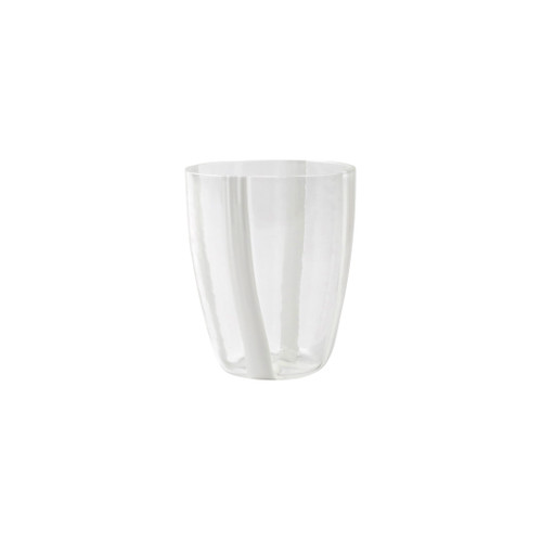 "Vietri Stripe White Short Tumbler  STR-5437W 4""H, 12oz  Dress up your daily glass of wine with the Stripe White Short Tumbler from plumpuddingkitchen.com. Intricately mouthblown in Veneto, this beautiful collection brings a sophisticated, modern touch to your favorite barware assortment."