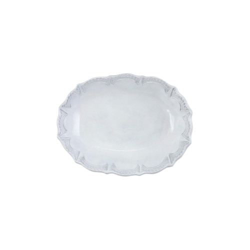 """Vietri Incanto Lace Small Oval Serving Bowl  INC-11031 10""""""""L, 7.7""""W, 2.25""""H Incanto is inspired by Italian art, architecture, and history. This Incanto Lace Small Oval Serving Bowl is oven safe and handcrafted of terra marrone in Veneto."""