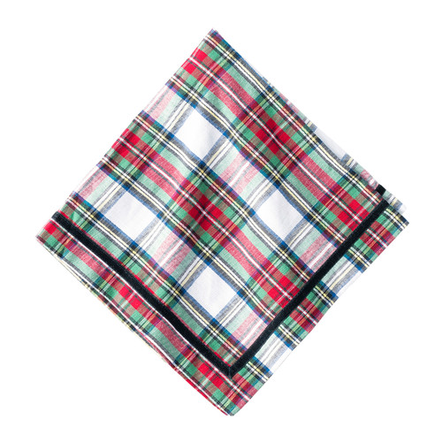 """Juliska Stewart Tartan Napkin Set/4  LB86/88 20""""Sq We adore the festive flair of tartan. Juliska's new woven napkins from plumpuddingkitchen.com are trimmed with a black velvet ribbon, are a dashing companion to your tablesetting for any occasion, from a happy breakfast to a chic dinner. Pair with your favorite dinnerware to add a touch of dapper elegance."""