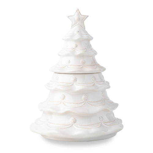 "Juliska Berry & Thread Whitewash Christmas Tree Cookie Jar JA130/W 9.75""W, 12.5""H Deck the Halls with this! Juliska's  cheerful Berry & Thread Christmas Tree cookie jar from plumpuddingkitchen.com is a delightful statement piece all Holiday season! Fill it with delectable homemade goodies to delight your loved ones: cookies, candies, biscotti, and more! Our handcrafted ceramic two-piece Christmas tree bedecked with Juliska's signature Berry and Thread motif, makes a fantastic gift and is a must have for the Berry & Thread Collector."