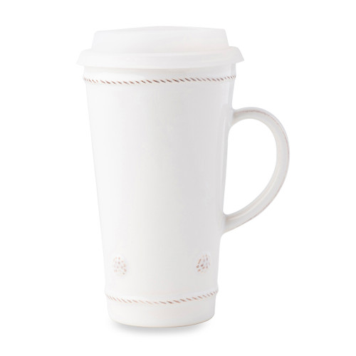 """Juliska Berry & Thread Whitewash Travel Mug JA133/W 3.5""""W, 6.25""""H, 16oz This charming large mug from Juliska's Berry & Thread collection invites us to forgo paper cups and plastic lid waste. Thoughtfully handcrafted with a handle that fits in most cup holders and accompanied by a silicon lid. Whether on the go, or nestled at home, our large lidded mug is a great companion to your favorite java or tea beverage."""