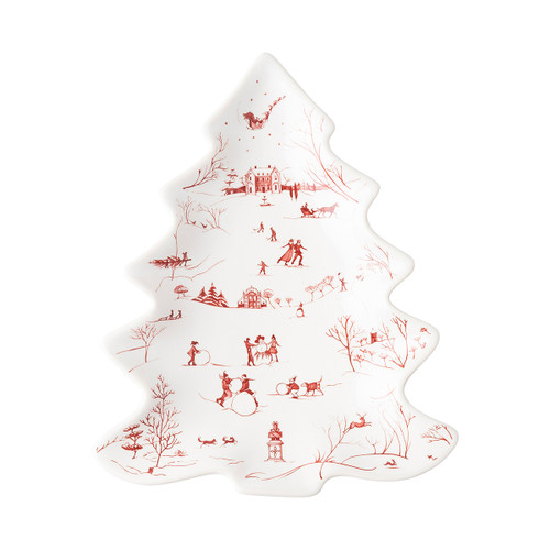 """Juliska Country Estate Winter Frolic Ruby Small Tree Tray CE99/73 10""""L, 8.25""""W Beautifully illustrated with scenes of beloved winter activities such as ice skating, snowman building and more, our gorgeous little tree tray makes you smile from ear to ear with childish delight. This lovely serving piece from plumpuddingkitchen.com is perfect for cheeses or sweet treats and makes a lovely hostess gift!"""