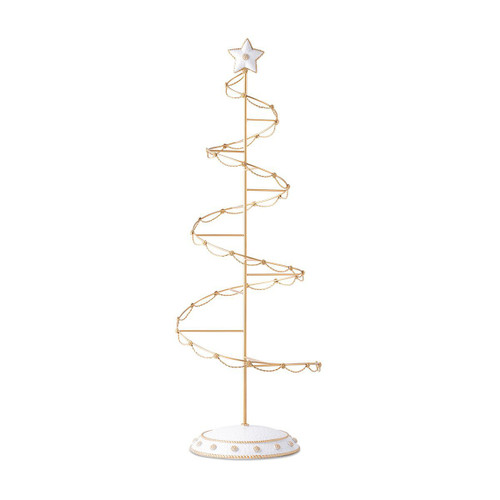"Juliska Berry & Thread Ornament Tree ORN/DP1  14""W, 38""H  Juliska's tree is a stunning host to your favorite ornaments! Our beautiful golden tree with iconic berry and thread motifs is hand enameled with white accents. Beautifully designed to sit on a side table or as a tablescape centerpiece, this makes a spectacular gift for the ornament collector. Tree has space for 32 ornaments of up to 6.5"" tall."