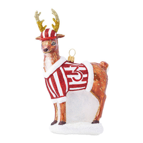 "Juliska Country Estate Reindeer Games Donner the Reindeer Glass Ornament ORN/007 3.25""W, 5.5""H  Juliska's baseball slugger, Donner, proudly wears Babe Ruth's number and regularly hits the ball into the aura borealis! This ornament from plumpudingkitchen.com is crafted with beautiful details. From its mouth-blown shape to refined painting and glittering, this is 'fan'tastic addition to every baseball loving household! Lovely on your Christmas tree or showcased on our elegant Berry & Thread ornament stand each ornament comes gift boxed and accompanied by a Juliska signature keepsake charm."