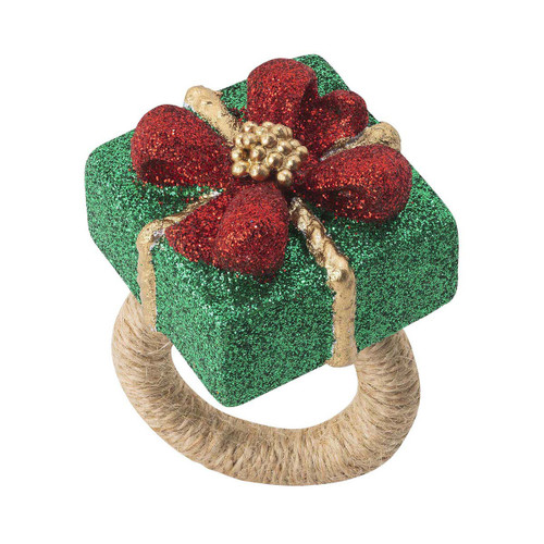 """Juliska Berry & Thread Present Napkin Ring Set/4 LR62/88 2""""W, 2.25""""H Everyone loves presents! Juliska's colorful new napkin ring featuring Berry & Thread motifs as gift wrapping accents are a whimsical way to add a little holiday sparkle to your meals during the season. Hand crafted with fine glitter and burlap wrapped rings, these come in a set of four and also make a cheerful gift for loved ones."""