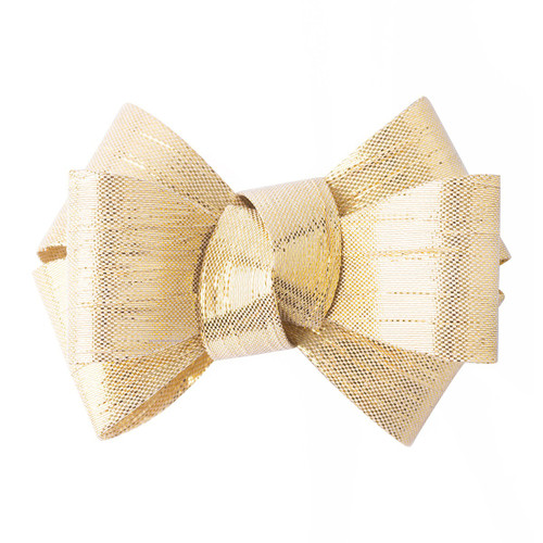 """Juliska Tuxedo Gold Napkin Ring Set/4 LR48/14 3""""W, 2.5""""W Juliska's new gleaming gold tuxedo-inspired napkin ring is designed to make a statement in your décor. Handsewn with rings wrapped in soft velvet ribbon, these golden bows will feston any table with a festively elegant flair."""